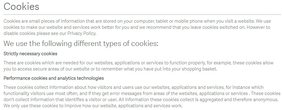 Sage Cookies Policy: Screenshot of excerpt of intro