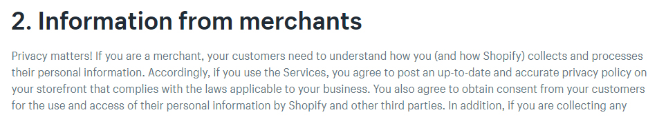 Shopify Privacy Policy: Information from merchants clause with Privacy Policy requirement