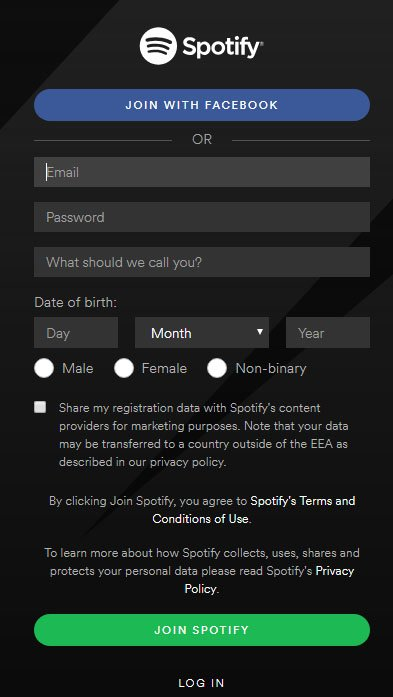 Spotify mobile app for Windows: Join/Sign-up page