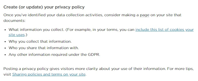 Squarespace GDPR Best Practices guidance: Create or Update Your Privacy Policy