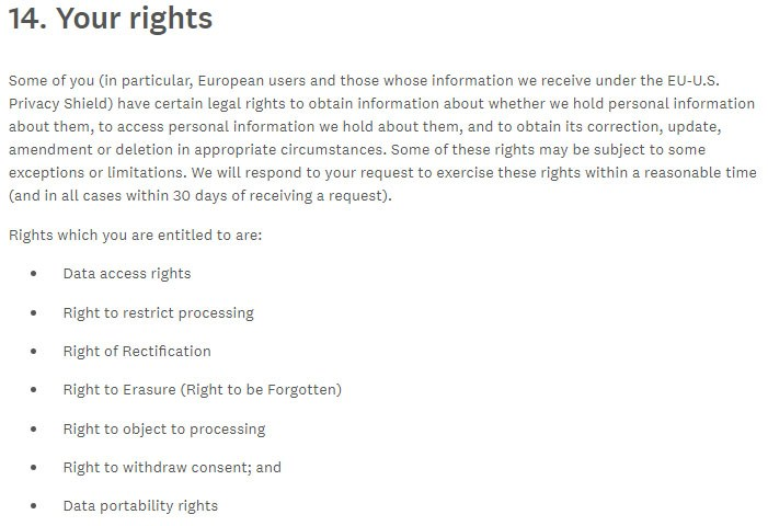 SurveyMonkey Privacy Policy: Your Rights clause with GDPR rights