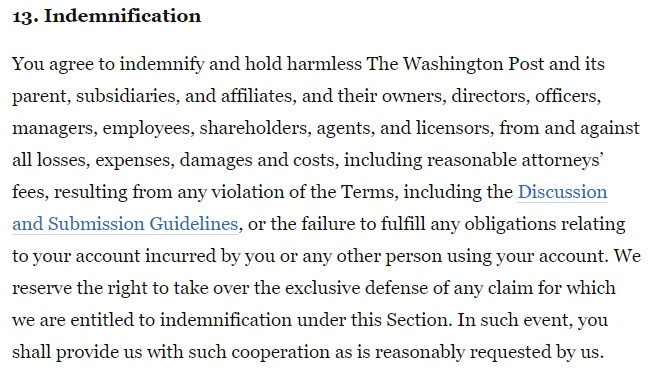 Washington Post Terms and Conditions: Indemnification clause