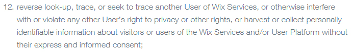 Wix Terms of Use: Clause covering restrictions and privacy rights