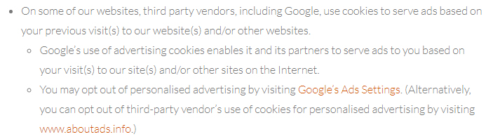 Antherweb Privacy Policy clause excerpt about third-party vendors, Google and Aboutads