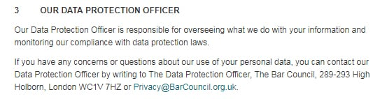 Bar Council UK Privacy Notice: Our Data Protection Officer contact information clause