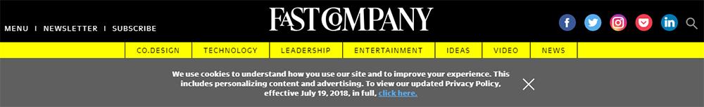 Screenshot of Fast Company website cookies banner pop-up