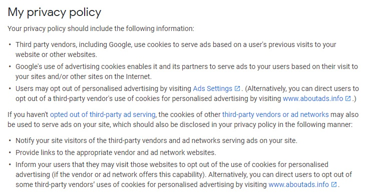Google AdSense Required content: My Privacy Policy requirements