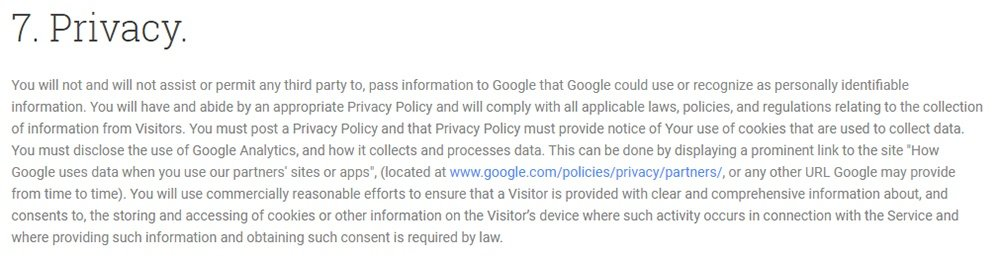 Google Analytics Terms of Service Privacy clause excerpt about a required Privacy Policy