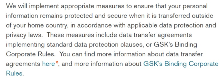 GSK Privacy Notice: Excerpt of clause discussing international transfers of information and binding corporate rules