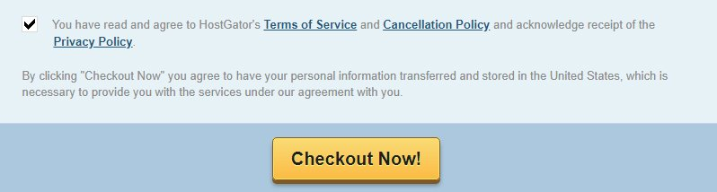 HostGator checkout now page with checkbox for legal agreements