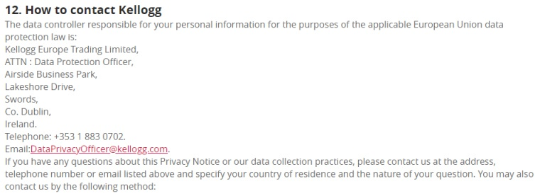 Kellogg UK Privacy Policy: Contact information clause for data controller and data protection officer