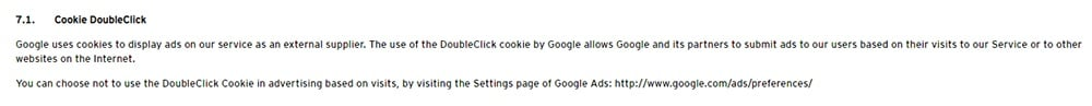 Levi Privacy Policy - Cookie DoubleClick clause mentioning Google AdSense