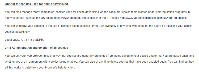 Nivea Privacy Policy opting out and deleting cookies clauses