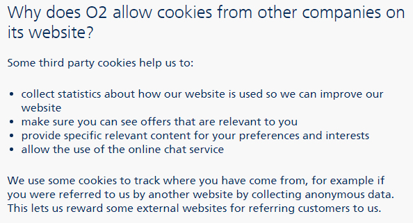 O2 Third-party cookies clause excerpt from Cookies Policy
