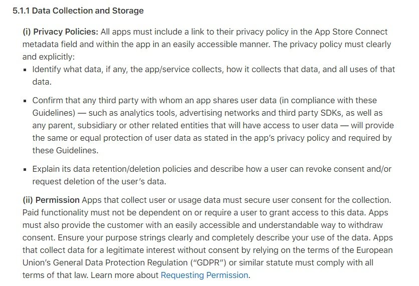 Privacy clause of the Apple App Store Review Guidelines document discussing data collection, storage and permissions.