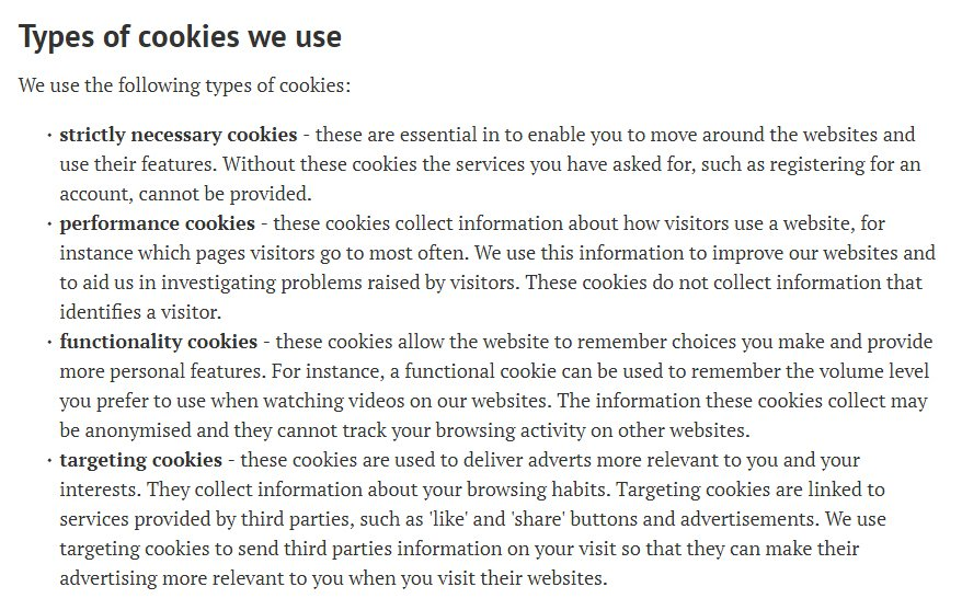 University of Oxford's Cookie statement - Types of cookies we use clause excerpt