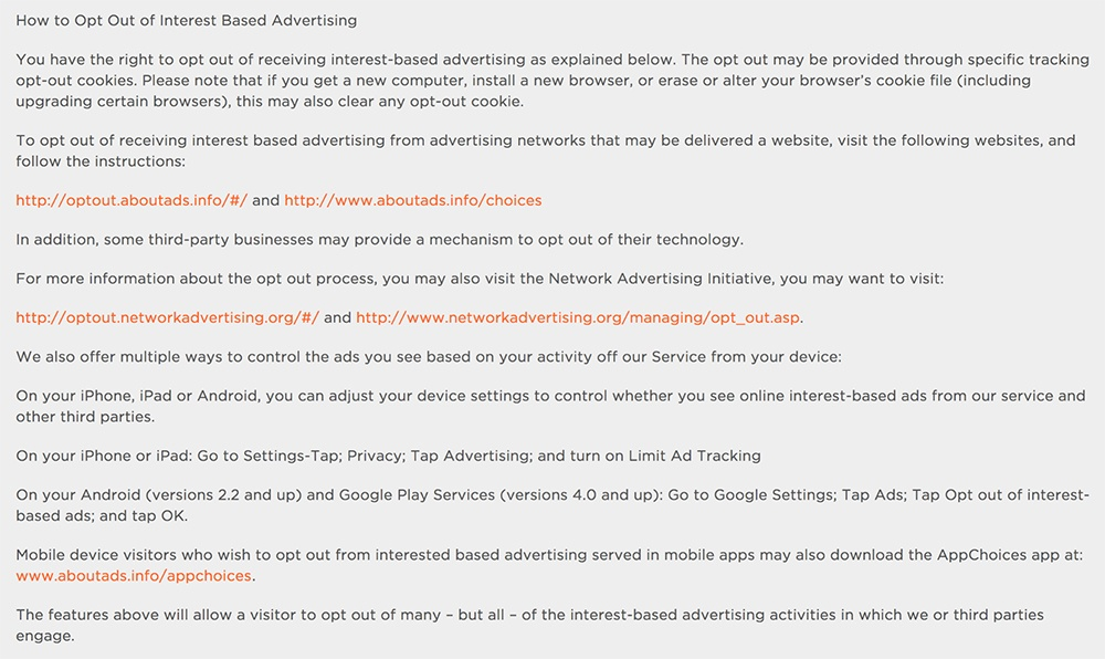 Cheetah Mobile Advertising Choices Policy: How to Opt Out of Interest Based Advertising clause