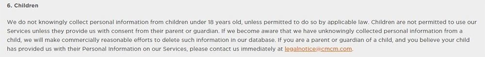 Cheetah Mobile Privacy Policy: Children clause