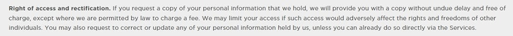 Cheetah Mobile Privacy Policy: Right of Access and Rectification clause
