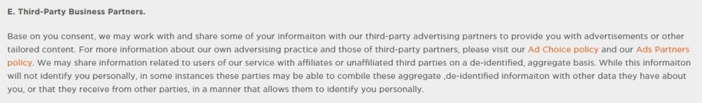 Cheetah Mobile Privacy Policy: Third-Party Business Partners clause