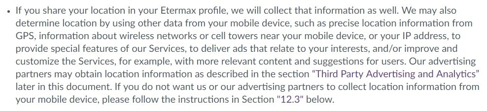 Etermax Privacy Policy: Excerpt of Information We Obtain Automatically clause about location information and advertising