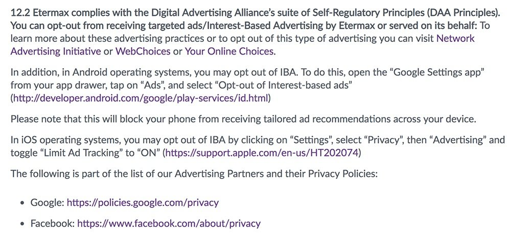 Etermax Privacy Policy: Opting out of targeted and interest-based advertising clause