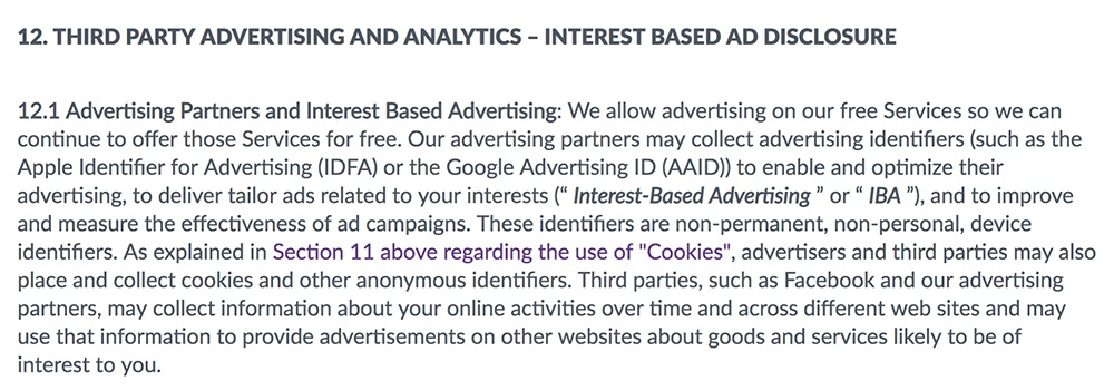 Etermax Privacy Policy: Third Party Advertising and Analytics Interest Based Ad Disclosure