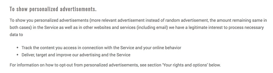 Frogmind Privacy Policy: Why Do We Collect Your Data clause: To Show Personalized Advertisements section
