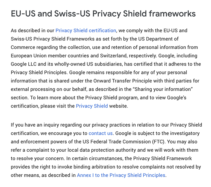 Google Data Transfer Frameworks: Privacy Shield Frameworks clause