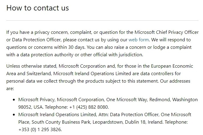 Microsoft Privacy Statement: Excerpt of clause for legal bases - GDPR