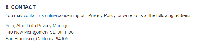 Yelp Privacy Policy: Contact clause for data privacy manager