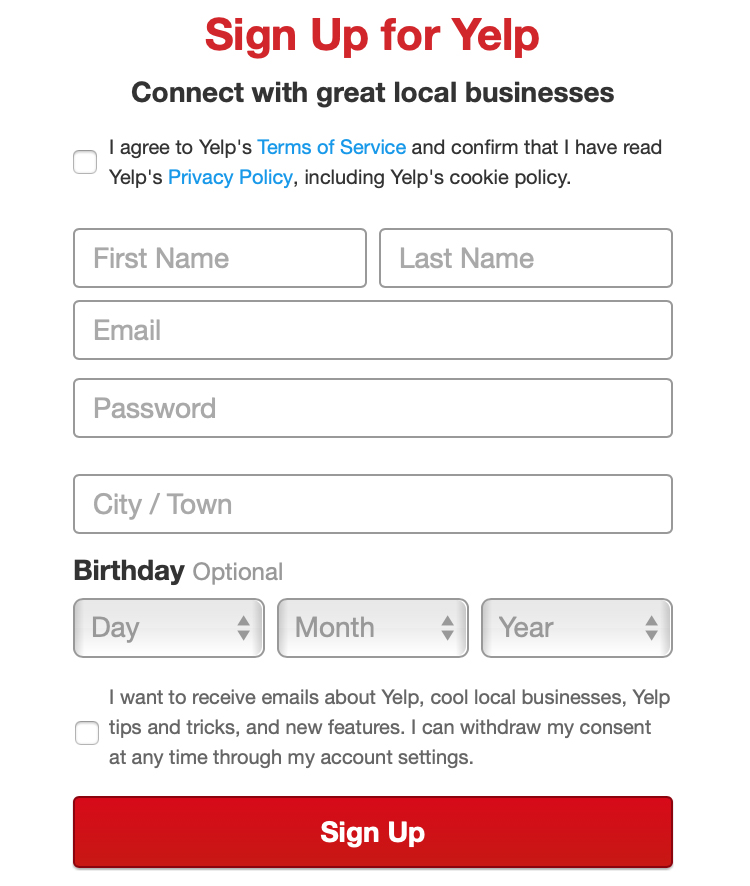 Yelp:  Sign-up form with checkboxes for GDPR consent