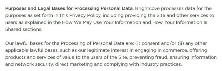 Brightcove Privacy Policy Legal Bases for Processing Personal Data clause