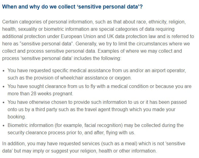 British Airways Privacy Policy: When and why do we collect sensitive personal data clause