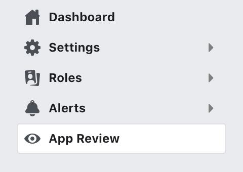 Facebook Developer Dashboard showing App Review option