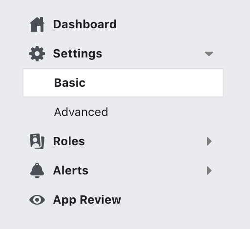 Facebook Developer Dashboard with Settings and Basic option