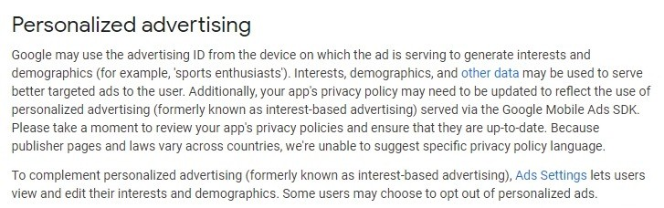 Google AdMob Behavioral Policies: Personalized Advertising clause
