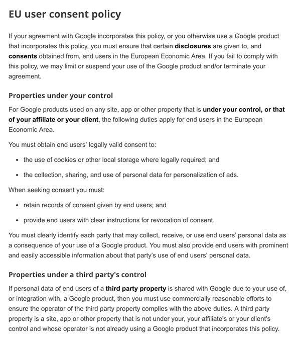 Google EU User Consent Policy
