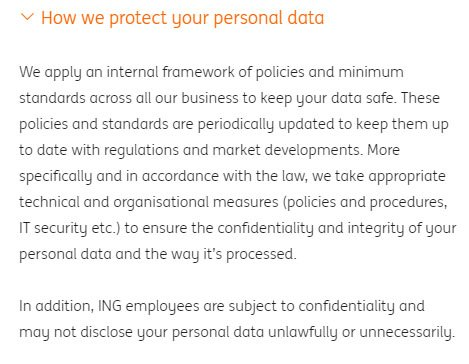 ING Privacy Statement: How we protect your personal data clause