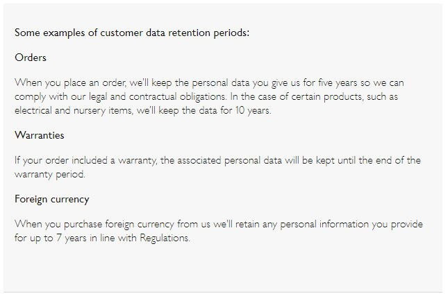 John Lewis Privacy Notice: Data retention periods examples clause