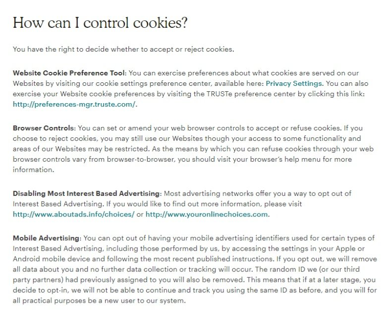 MailChimp Cookies Statement: Excerpt of How can I control cookies clause