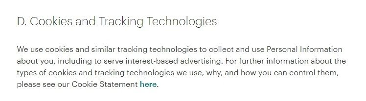 MailChimp Privacy Policy: Cookies and Tracking Technologies clause