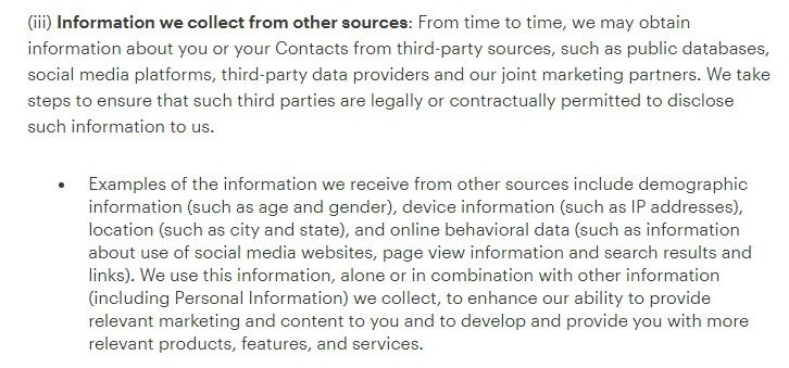 MailChimp Privacy Policy: Information we collect from other sources clause