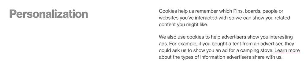 Pinterest Privacy Policy: Personalization clause mentioning cookies and advertising