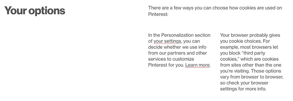 Pinterest Privacy Policy: Your options for cookies clause
