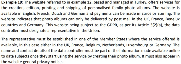 Screenshot of Example 19 from EDPB Guidelines on the Territorial Scope of the GDPR