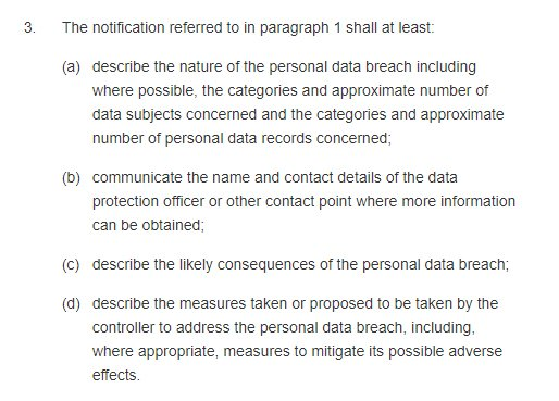 GDPR Info: Article 33 data breach notification requirements