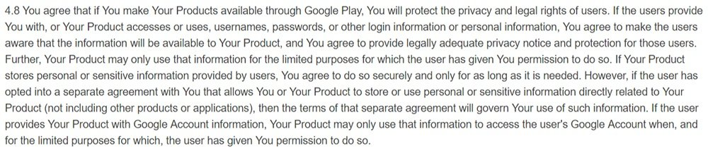 Google Play Developer Distribution Agreement: Privacy Policy requirement clause