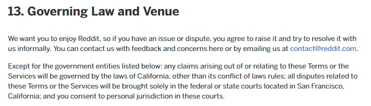 Reddit User Agreement: Governing Law and Venue clause