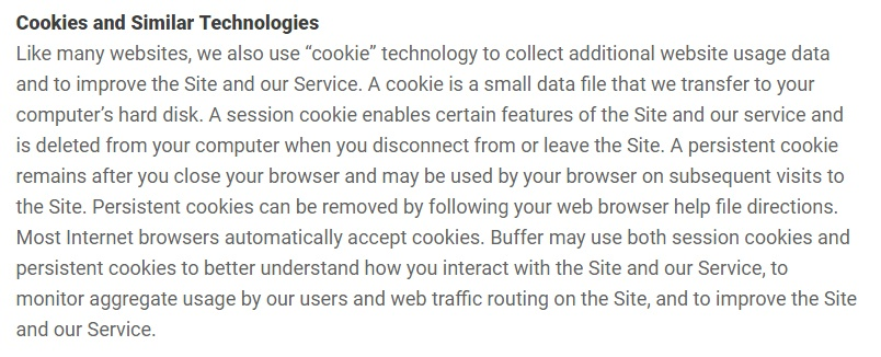 Buffer Privacy Policy: Cookies and Similar Technologies clause excerpt